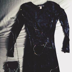 Forever 21 black velvet maxi dress